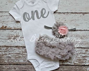 Baby Girl 1st Birthday Outfit Cake Smash Photography Props Silver One Bodysuit Grey Bloomers Pink Silver Grey