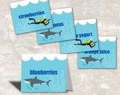 PRINT & SHIP Shark and Scuba Birthday Food Labels (set of 8) >> personalized and shipped to you <<