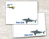 PRINT & SHIP Shark and Scuba Birthday Party Thank You Notes (set of 12)