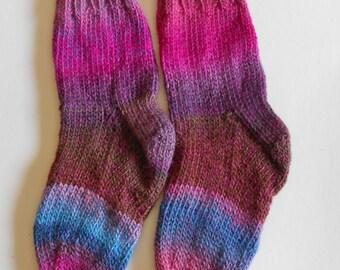 HAND KNIT WOOL Socks - Women, Teens- Hand Knit of 100 Wool - Socks Slippers