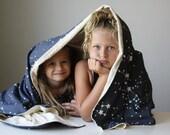 Organic Throw Blanket, Throw, Blanket, Eco Friendly, Kids, Personalized Gift- Galaxy Stars