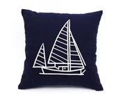 Throw pillow covers, Nautical throw pillows, navy pillow cover, ship decor, nautical embroidery,cottage chic decor, coastal fabric,