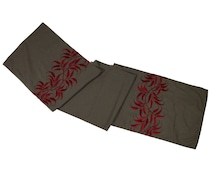 Table Runner, Linen Table Runner, Table Linen, Taupe Linen Red Leaves Embroidery, Long table runner, Custom Table Runner, Embroidered