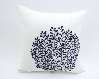 Coral Throw Pillow Cover, Nautical Pillow Case, Coral Cushion, White Linen Navy Blue Coral, Nautical Home Decor, Coral Decoration