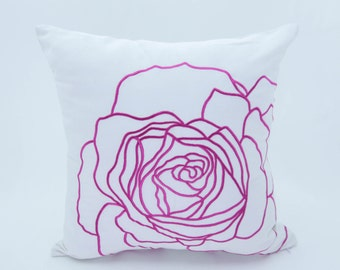 Pink Rose Throw Pillow, Flower Pillow Shams, White Linen Fuchsia Pink Rose, Embroidered, Modern Contemporary Floral Pillow, Floral Decor