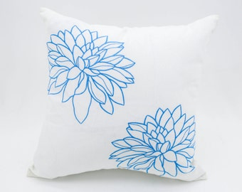 Flower Pillow Cover, Decorative Pillow, White Linen Blue Flower, Embroidered Pillow, White Pillow Case, Blue Floral Cushion, Couch Pillow