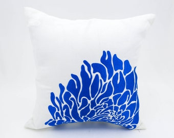 Blue Flower Decorative Throw Pillow Cover, Pillow Accent,White Linen Blue Flower Embroidery, Modern Home Decor, Couch Pillow, Cushion Cover