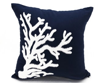 Nautical Coral Pillow Cover, White Coral Embroidery Navy Blue Linen Pillow, Beach House Decor, Cottage Throw Pillow, Coral Reef Decor