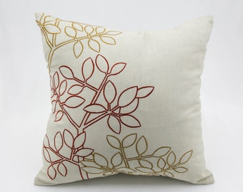 Orange Leaves Pillow Cover, Beige Linen Pillow Autumn Leaves, Embroidered Pillow Case, Decorative throw pillow, floral couch pillow