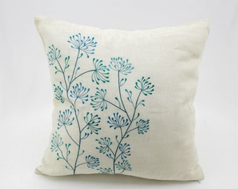 Teal Floral Pillow Cover, Beige Linen Teal Flower Embroidery, Flower Throw Pillow, Home Decor, Cream Teal Pillow Shams, Floral Cushion