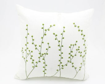 Willow Tree Pillow Cover, Cream Linen Green Willow Embroidery, Willow Tree Decor, Floral Couch Pillow,  Modern Decorative Home Decor