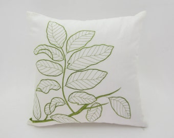 Botanical pillow, tropical decor, throw pillow cover, Leaf cushion. embroidery pillow. floral pillow cover, cushion cover, deorative pillow