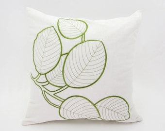 Leaves Throw Pillow Cover, Cream Linen Green Leaves Embroidery, Floral Accent Pillow, Modern Natural Decorative Pillow, Home Decor