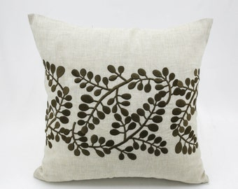 Leaves Throw Pillow Cover, Beige Linen Pillow Brown Leaves Embroidery, Floral Bedding, Floral Pillow Shams, Leaf Cushion, Toss Pillow