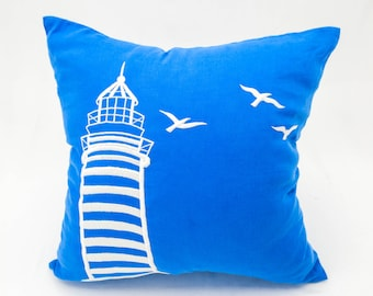 Nautical Pillow Cover, Lighthouse Pillow Cover, Royal Blue Linen White Lighthouse Embroidery, Nautical Decor, Sailing Decor