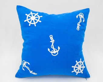 Sailing Pillow Cover, Royal Blue Linen Pillow White Anchor Wheel Embroidery, Nautical Pillow, Sailing Decor, Sailboat decor, Cottage Pillow