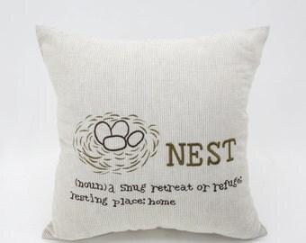 Bird Nest Pillow Cover, Brown Striped Linen Nest Embroidery, Bird Pillow Case, Nest Cushion, Modern Home Decor, Decorative pillow for couch