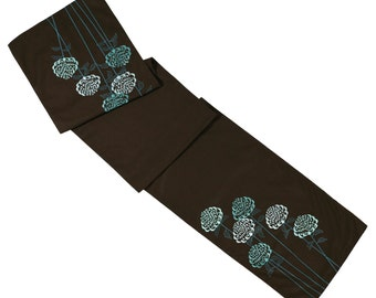 "Linen Table Runner, Dark Brown Linen Teal Flowers Embroidery 14"" x 64"", Table Linen, Long Custom Wedding Table Runner, Table Top"