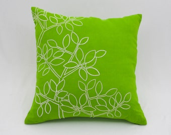 Green White Decorative Pillow Cover, Green Linen Off White Leaves Embroidery, Floral Throw Pillow, Embroidered Couch Pillow, Accent Pillow