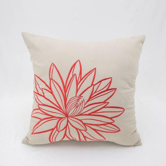 Lotus Decorative Throw Pillow Cover Beige Linen Orange Lotus