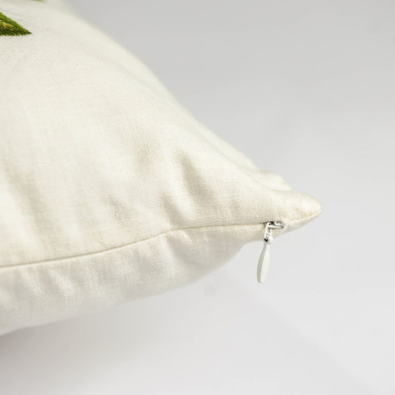 Fern Pillow Cover Cream Linen Green Leaf Embroidery Home