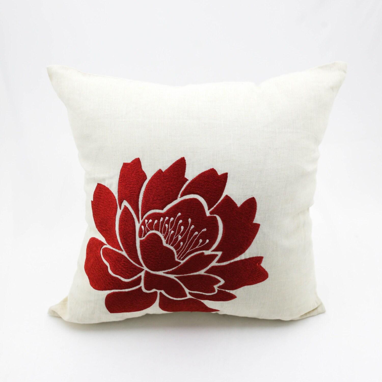 Decorative Flower Pillows : Orange Floral Decorative Throw Pillow Cover Beige Linen