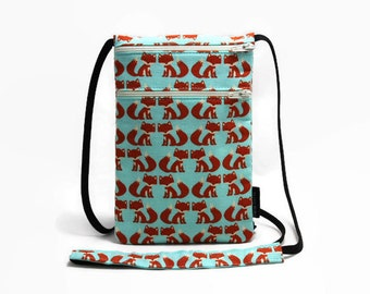 Small  travel pouch, Neck wallet, Passport Holder, Small sling bag, Travel Accessory, Zipper Pouch - Orange Twin Foxes