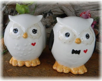 Owl Wedding Cake toppers  Owl Bride and Groom w red heart   Ceramic Glazed  Bird Lovers .Custom Owls   Mr Mrs Hootie od