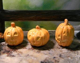 Pumpkin  miniature Jack O Lanterns with face (3) Glazed  ceramic terrarium doll house size  pottery fall .... PM