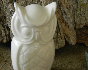 Ceramic Owl  Decorations Soft  White   Ceramic Modern Owl from Vintage mold
