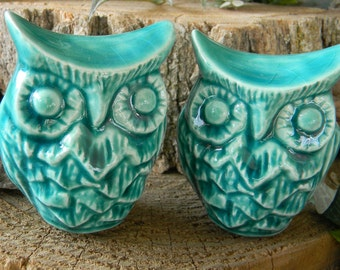 Owl Wedding Cake toppers  Owl Bride and Groom  Ceramic Glazed Owls Handmade...  Ready to ship  Turquoise ob