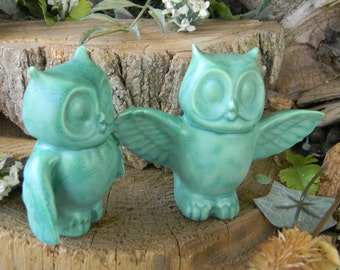 Owl Wedding Cake toppers  Owl Bride and Groom  Ceramic Glazed Owls Handmade...  Ready to ship Turquoise