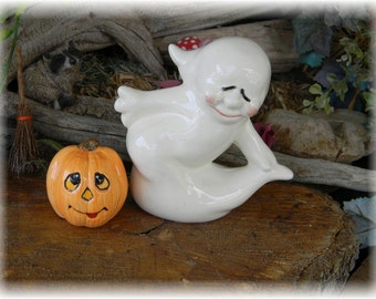 Halloween  Ghost  handcrafted  Boo  glazed  ceramic Pottery . Spooky Boo Goblins Halloween decor safe Outside