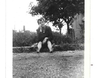 vintage Photo Barefoot Woman Sitting on Street Curb 1940s Snapshot