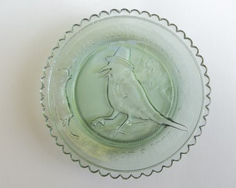 Fenton Cup Plate Robin Redbreast Kaleidoscope Willow Green Fenton Art Glass Very Rare Collectible Plate