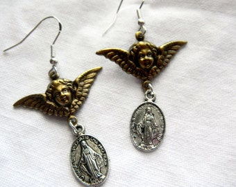 Angel with Wings and Mother Mary Medal