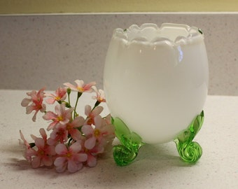 Vintage Egg Vase, Footed Egg Vase, Milk Glass