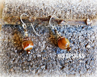 Agate and Copper Earrings with Sterling Silver