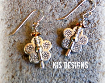 Flower Power Sterling and Swarovski Crystal Earrings
