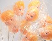 10 Retro Doll Head Floral Picks Barbie Type Blonde Doll Heads Mixed Media Art Supply