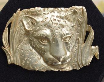 "Pretty Vintage Gold tone Tiger Brooch, ""JJ, 1986"", Safari, Animal Brooch (AM11)"