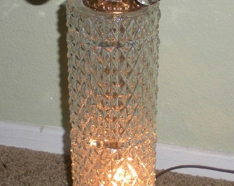Hollywood Regency Cut Glass Brass Lamp with Prisms Mid Century