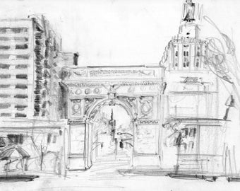 Washington Square Park Arch looking north toward the Empire State Building