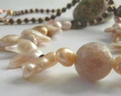 Sacred Feminine - Necklace / Agate , Sweet Water Pearls, beading beads , copper toggle
