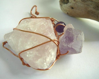Power of Love - Pendant / Rose Quartz, Fluorite and Amethyst with Copper Wire