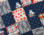 Sail Away!  Patchwork Quilt Boy Anchors Away Madras fabrics by Sarah Jane Michael Miller Blue Orange Red Plaid
