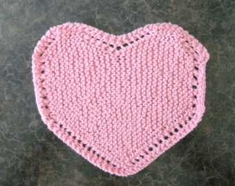Hand Knit Pink Heart Dishcloth