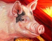"PIG PAINTING /SALE!  Original painting/ Stewart Bacon/ Oil on Deep Profile canvas 12"" x 12"""