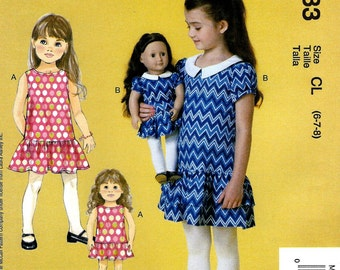 GIRL - DOLL PATTERN / Matching Dress For Girl and American Girl Doll / Sizes 2 To 5 Or 6 To 8