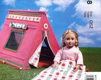 DOLL ACCESSORIES PATTERN / Make Tent and Sleeping Bag / Fits American Girls - 18 Inch Dolls